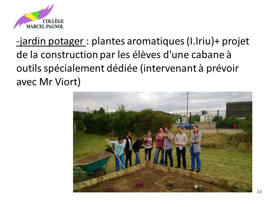 -jardin potager : plantes aromatiques (I.Iriu)+ projet de la construction par les élèves d une cabane à outils spécialement dédiée (intervenant à prévoir avec Mr Viort) 13