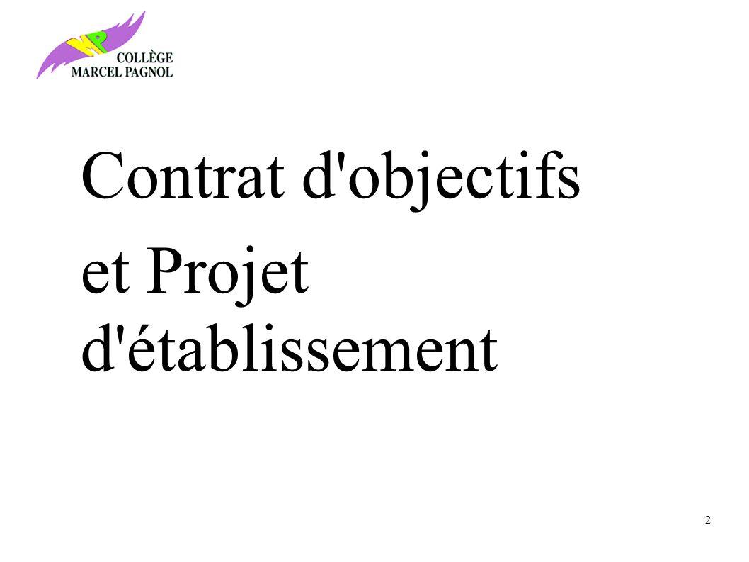 Contrat d objectifs et Projet d établissement 2