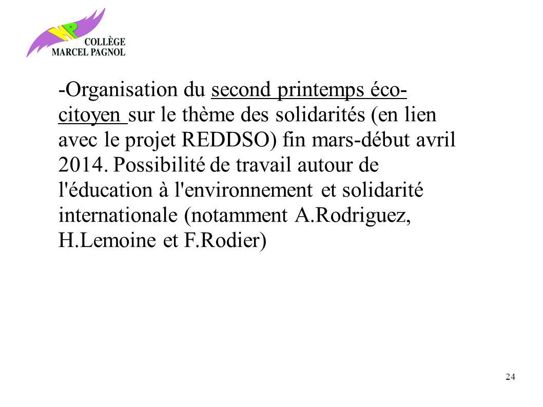 -Organisation du second printemps éco- citoyen sur le thème des solidarités (en lien avec le projet REDDSO) fin mars-début avril 2014.
