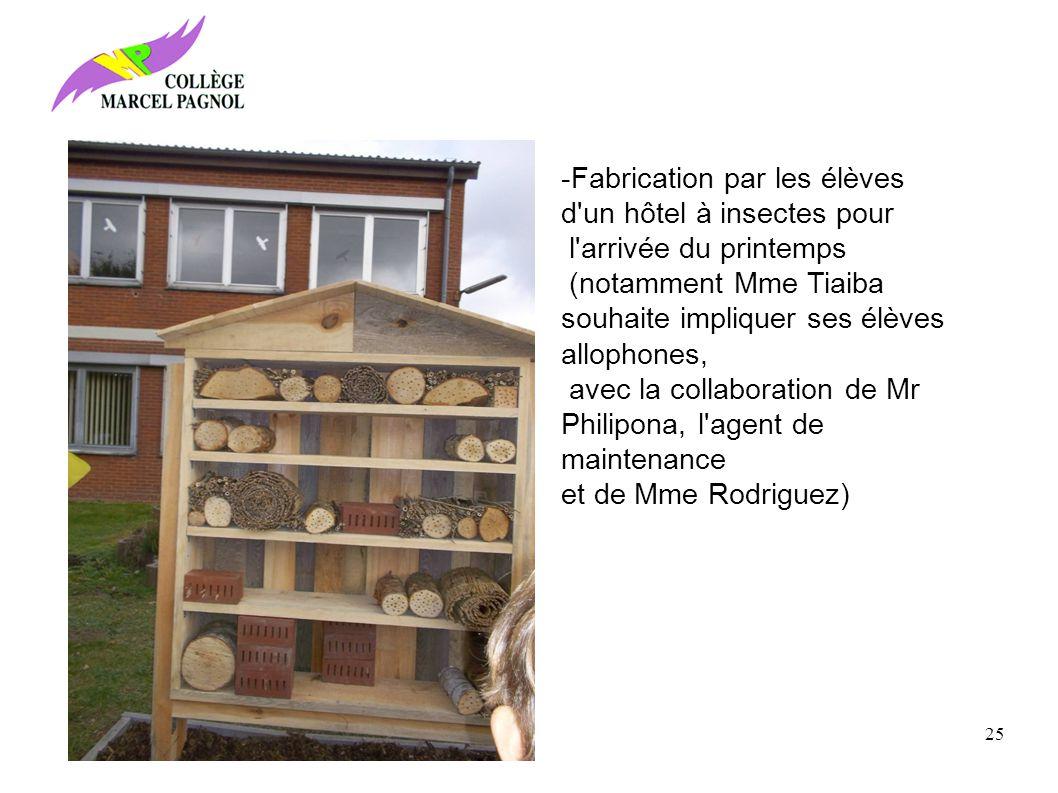 -Fabrication par les élèves d un hôtel à insectes pour l arrivée du printemps (notamment Mme Tiaiba souhaite impliquer ses élèves allophones, avec la collaboration de Mr Philipona, l agent de maintenance et de Mme Rodriguez) 25