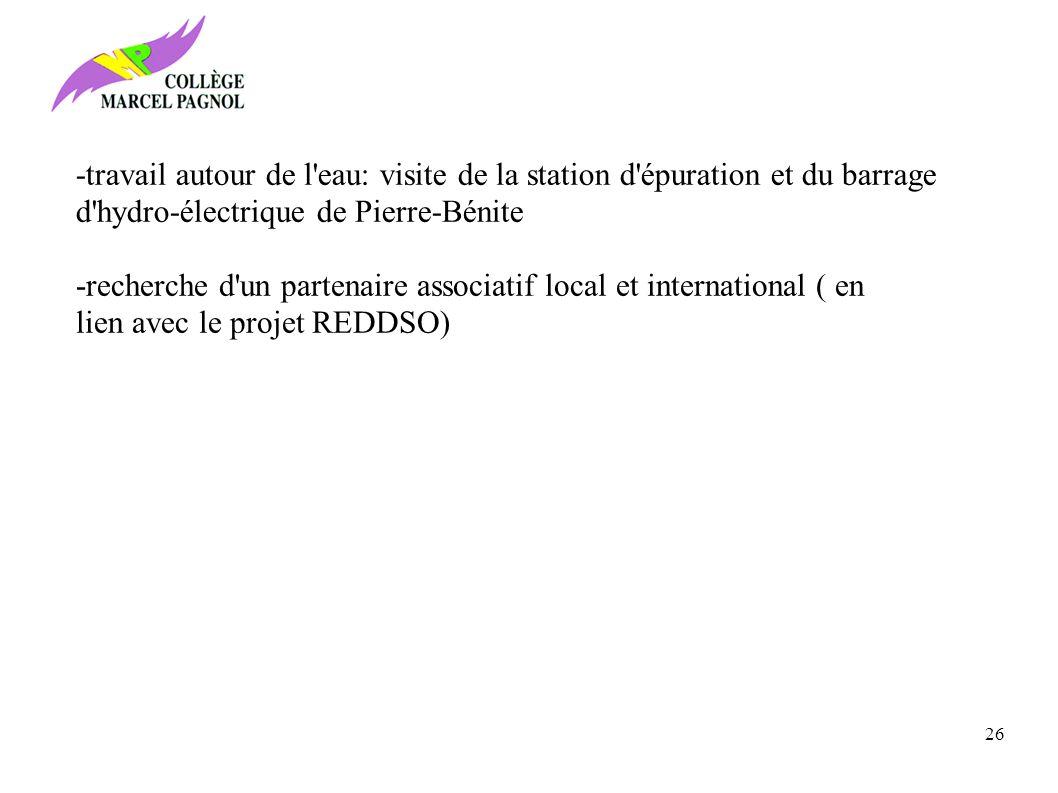 -recherche d un partenaire associatif local et international ( en lien avec le projet REDDSO) -travail autour de l eau: visite de la station d épuration et du barrage d hydro-électrique de Pierre-Bénite 26