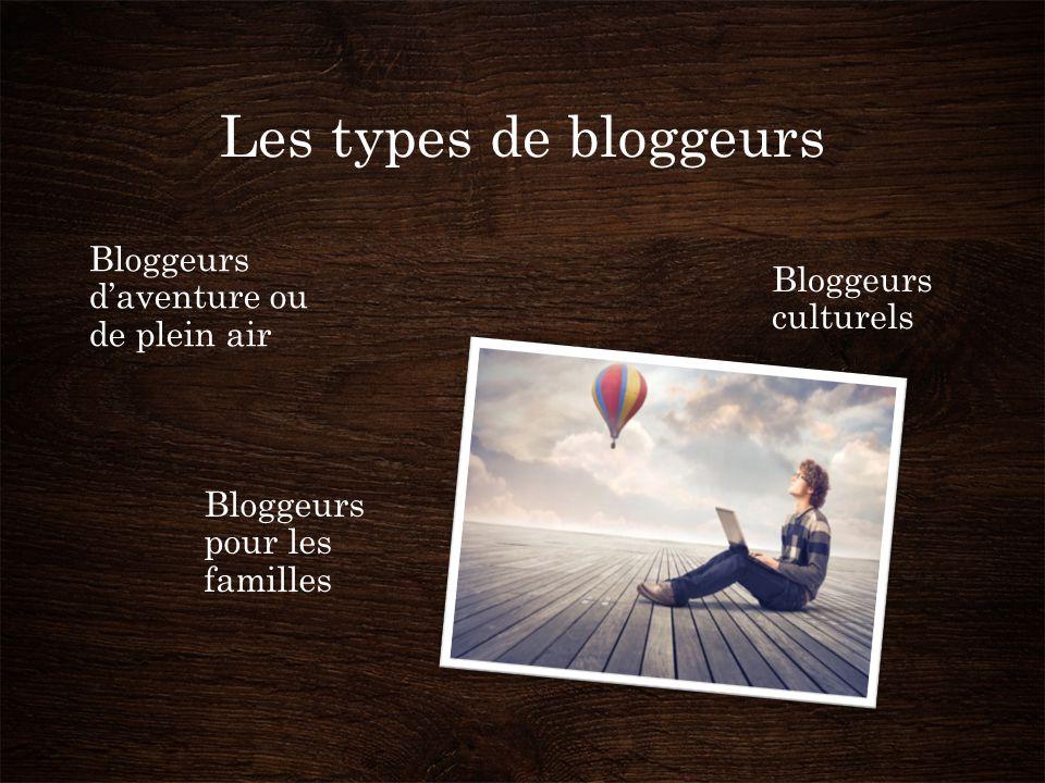 Les types de bloggeurs Bloggeurs d'aventure ou de plein air Bloggeurs culturels Bloggeurs pour les familles