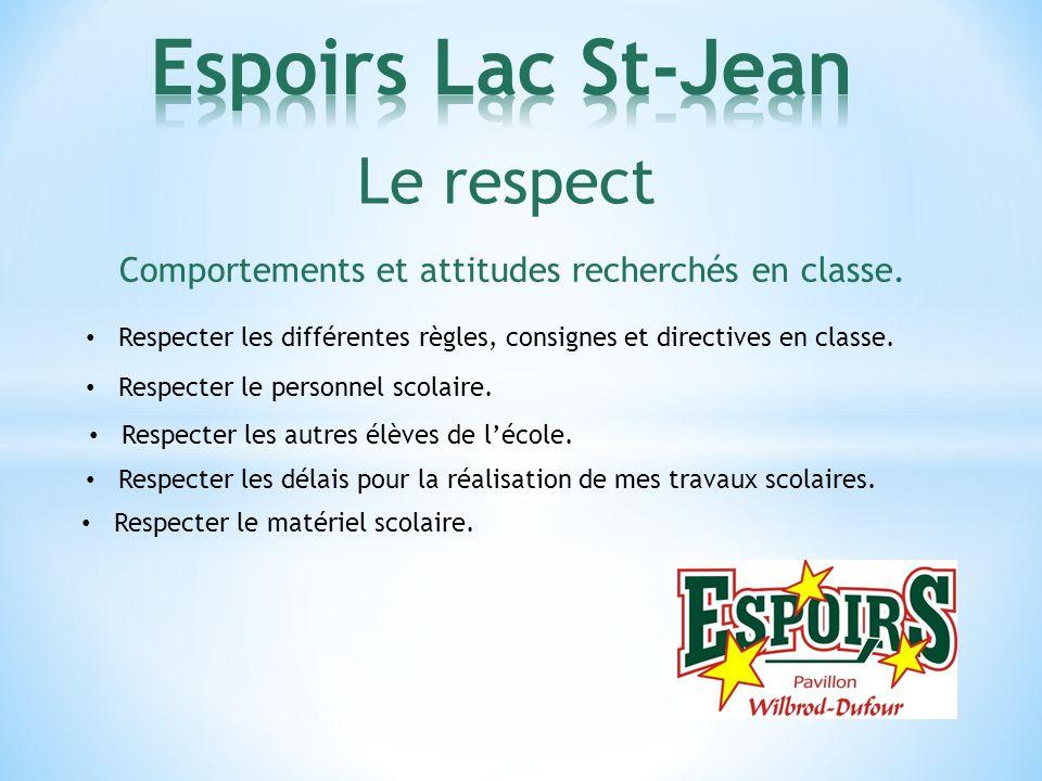Le respect Comportements et attitudes recherchés en classe. Respecter les différentes règles, consignes et directives en classe. Respecter le personne
