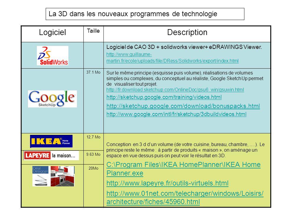 La 3D dans les nouveaux programmes de technologie Logiciel Taille Description Logiciel de CAO 3D + solidworks viewer+ eDRAWINGS Viewer. http://www.gui