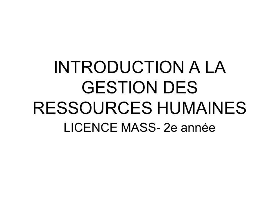 INTRODUCTION A LA GESTION DES RESSOURCES HUMAINES LICENCE MASS- 2e année
