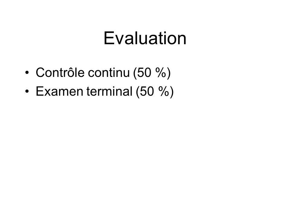 Evaluation Contrôle continu (50 %) Examen terminal (50 %)