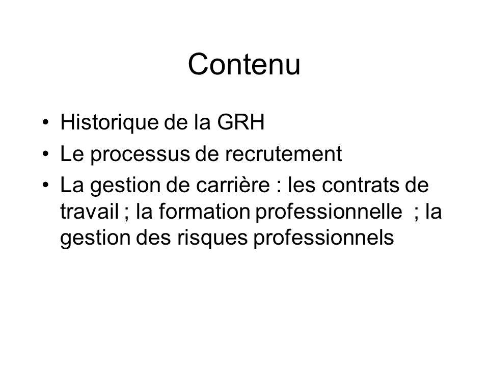Contenu Historique de la GRH Le processus de recrutement La gestion de carrière : les contrats de travail ; la formation professionnelle ; la gestion des risques professionnels