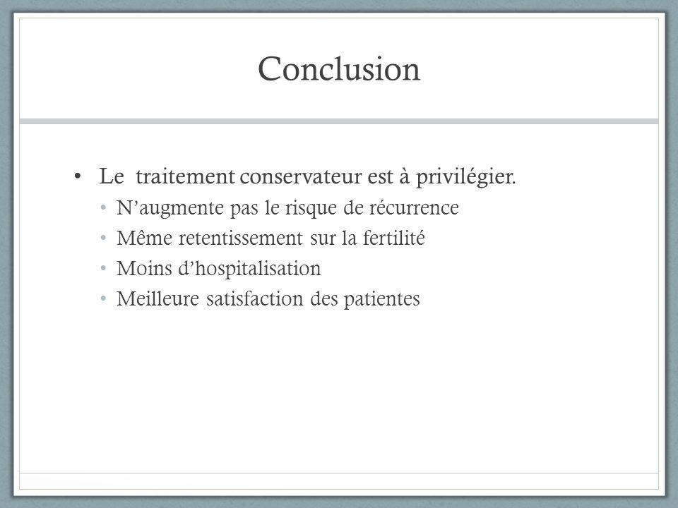 Conclusion Le traitement conservateur est à privilégier. N'augmente pas le risque de récurrence Même retentissement sur la fertilité Moins d'hospitali