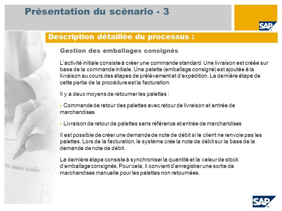 Présentation du scénario - 3 Gestion des emballages consignés L'activité initiale consiste à créer une commande standard. Une livraison est créée sur