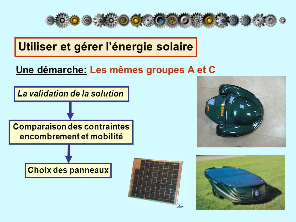 Une démarche: Le groupe A (panneaux embarqués) La mise en place sur la tondeuse Réalisation d'une maquette virtuelle du nouveau capot de la tondeuse Deux capots articulés portant chacun un panneau Utiliser et gérer l'énergie solaire