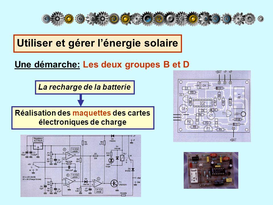 Une démarche: Tous les 5 groupes du robot tondeur Synthèse - Comparaison des deux solutions Les connaissances acquises sont partagées entre tous les groupes Panneau solaire embarquéPanneau sur plot de charge Pas de retour chargeur : gain d'énergiePlus besoin d'alimentation secteur Nécessite deux batteries NiCd pour un fonctionnement permanent Le panneau peut-être placé suivant la meilleure exposition, protection Le déplacement de la masse des deux panneaux (5kg) consomme de l'énergie Nécessite un onduleur pour alimenter les boucles de pilotage La capacité de charge est fonction du terrain (nombreux arbres) Nécessite une batterie au plomb L'encombrement du robot tondeur est sensiblement augmenté La borne peut avoir une autre utilité (éclairage de nuit par exemple) Utiliser et gérer l'énergie solaire