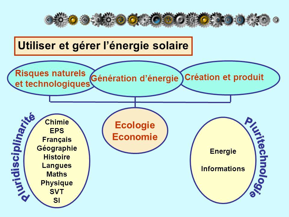 Utiliser et gérer l'énergie solaire Création et produit Risques naturels et technologiques Génération d'énergie Ecologie Economie Chimie EPS Français