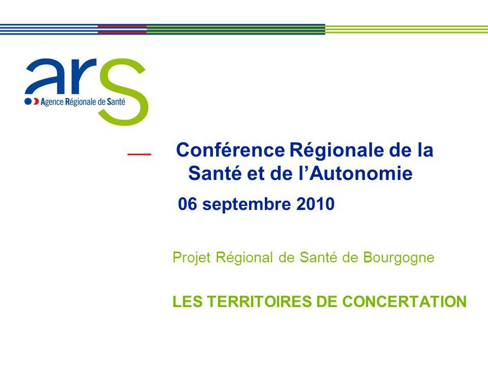 Conférence Régionale de la Santé et de l'Autonomie 06 septembre 2010 Projet Régional de Santé de Bourgogne LES TERRITOIRES DE CONCERTATION