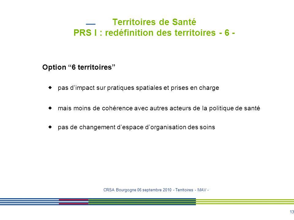 """13 Territoires de Santé PRS I : redéfinition des territoires - 6 - Option """"6 territoires""""  pas d'impact sur pratiques spatiales et prises en charge """