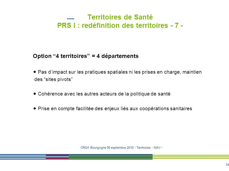 """14 Territoires de Santé PRS I : redéfinition des territoires - 7 - Option """"4 territoires"""" = 4 départements  Pas d'impact sur les pratiques spatiales"""