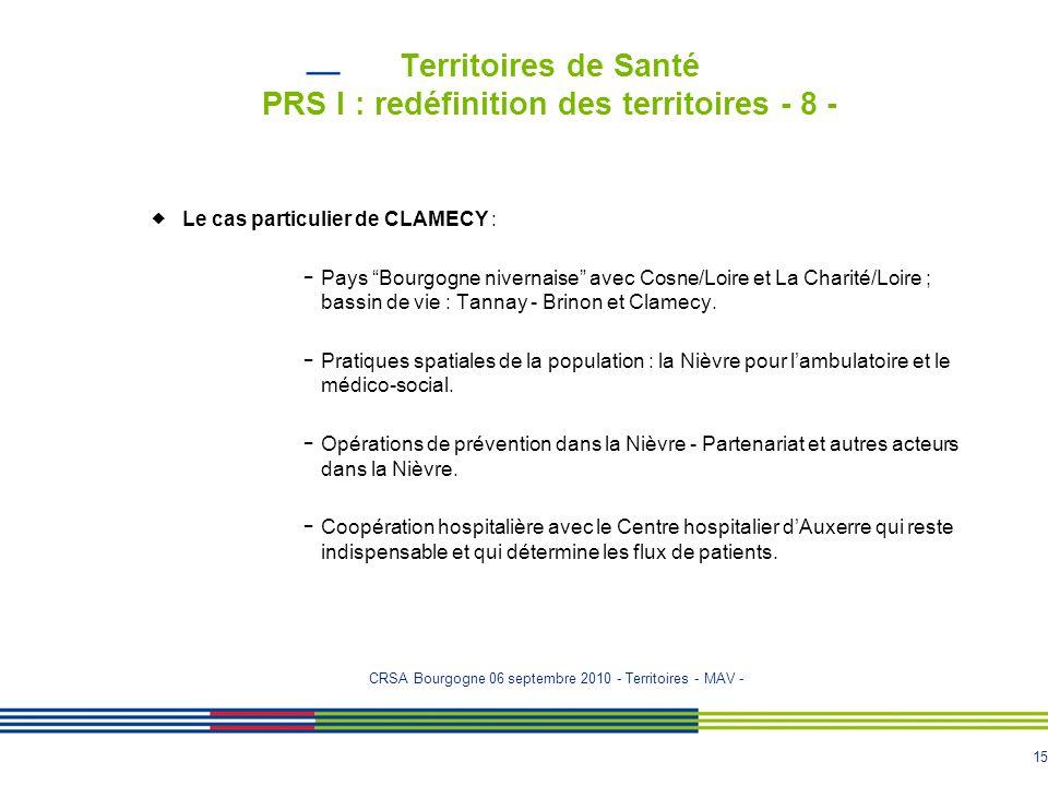 """15 Territoires de Santé PRS I : redéfinition des territoires - 8 -  Le cas particulier de CLAMECY : - Pays """"Bourgogne nivernaise"""" avec Cosne/Loire et"""