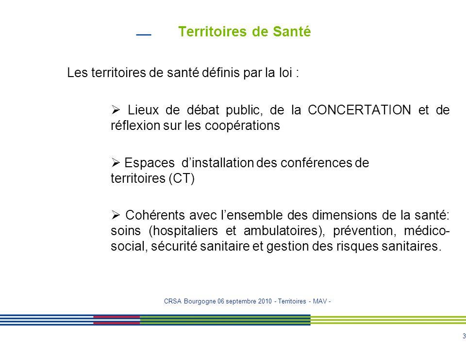3 Territoires de Santé Les territoires de santé définis par la loi :  Lieux de débat public, de la CONCERTATION et de réflexion sur les coopérations