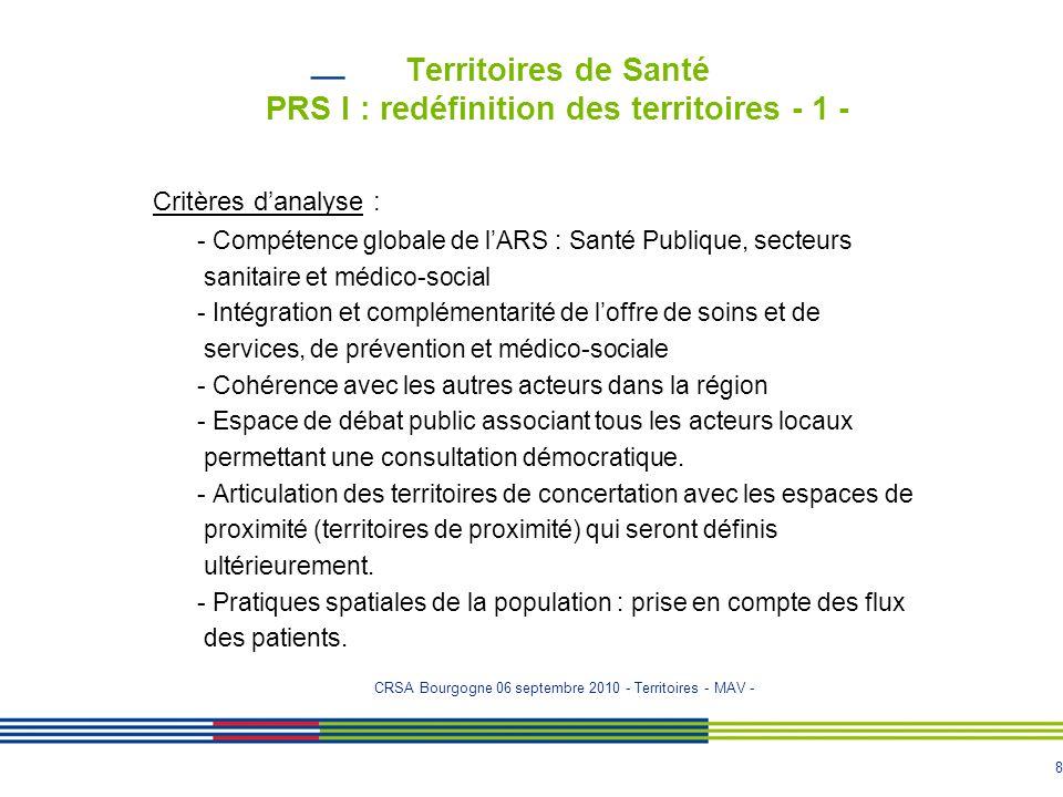 8 Territoires de Santé PRS I : redéfinition des territoires - 1 - Critères d'analyse : - Compétence globale de l'ARS : Santé Publique, secteurs sanita