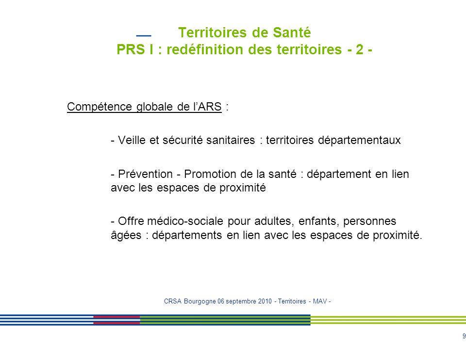 9 Territoires de Santé PRS I : redéfinition des territoires - 2 - Compétence globale de l'ARS : - Veille et sécurité sanitaires : territoires départem