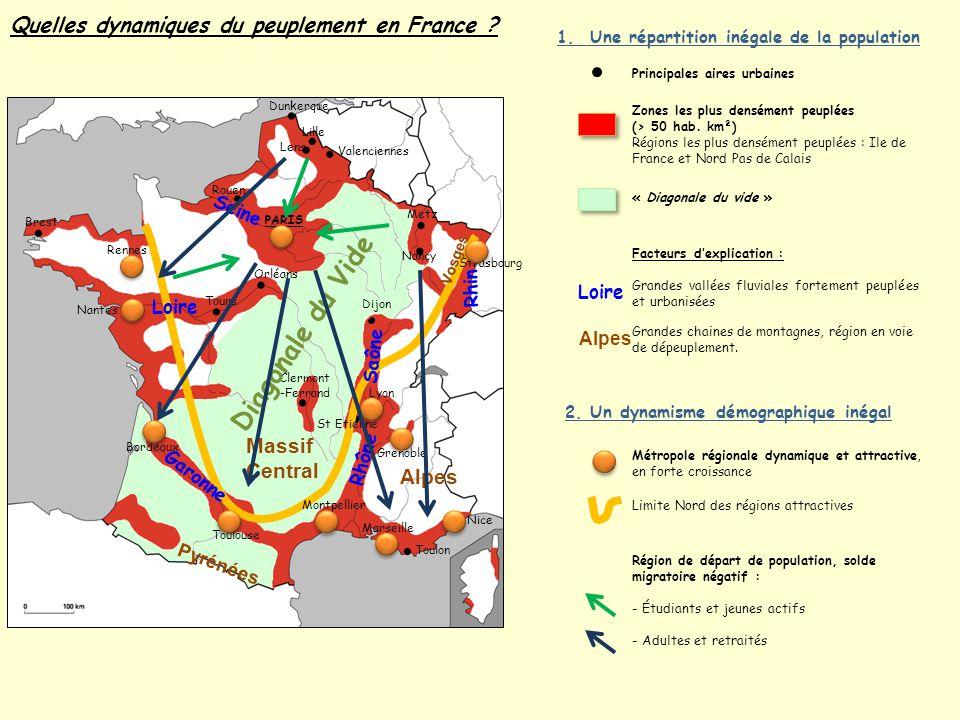 Quelles dynamiques du peuplement en France ? 1. Une répartition inégale de la population Strasbourg Lille Metz Nancy Dijon St Etienne Lyon Grenoble Ni
