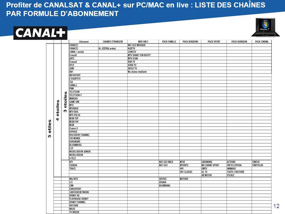 Profiter de CANALSAT & CANAL+ sur PC/MAC en live : LISTE DES CHAÎNES PAR FORMULE D'ABONNEMENT 12