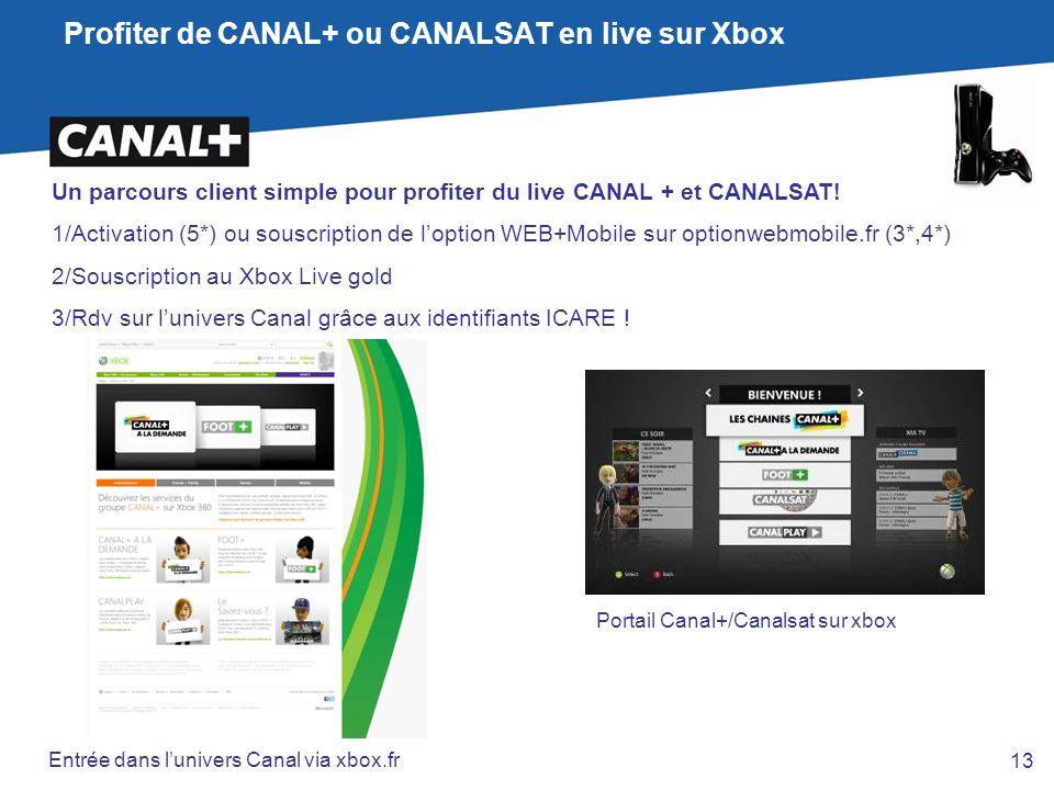 Profiter de CANAL+ ou CANALSAT en live sur Xbox Un parcours client simple pour profiter du live CANAL + et CANALSAT! 1/Activation (5*) ou souscription