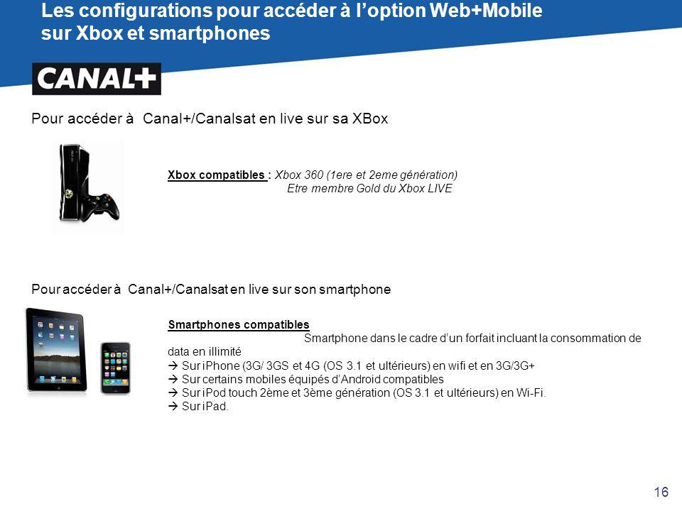 Les configurations pour accéder à l'option Web+Mobile sur Xbox et smartphones Pour accéder à Canal+/Canalsat en live sur sa XBox Xbox compatibles : Xb