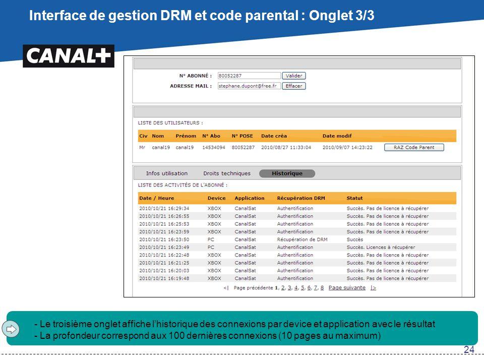 Interface de gestion DRM et code parental : Onglet 3/3 - Le troisième onglet affiche l'historique des connexions par device et application avec le rés