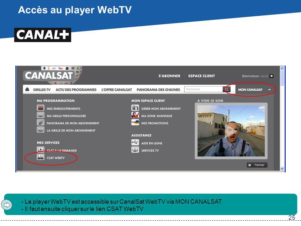 Accès au player WebTV - Le player WebTV est accessible sur CanalSat WebTV via MON CANALSAT - Il faut ensuite cliquer sur le lien CSAT WebTV 25