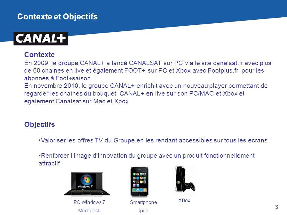Contexte et Objectifs Contexte En 2009, le groupe CANAL+ a lancé CANALSAT sur PC via le site canalsat.fr avec plus de 60 chaines en live et également