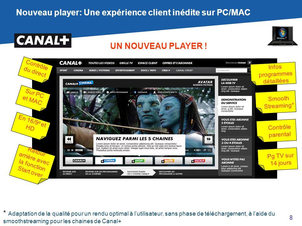 Nouveau player: Une expérience client inédite sur PC/MAC UN NOUVEAU PLAYER ! Contrôle du direct Sur PC et MAC En 16/9 e et HD Retour arrière avec la f