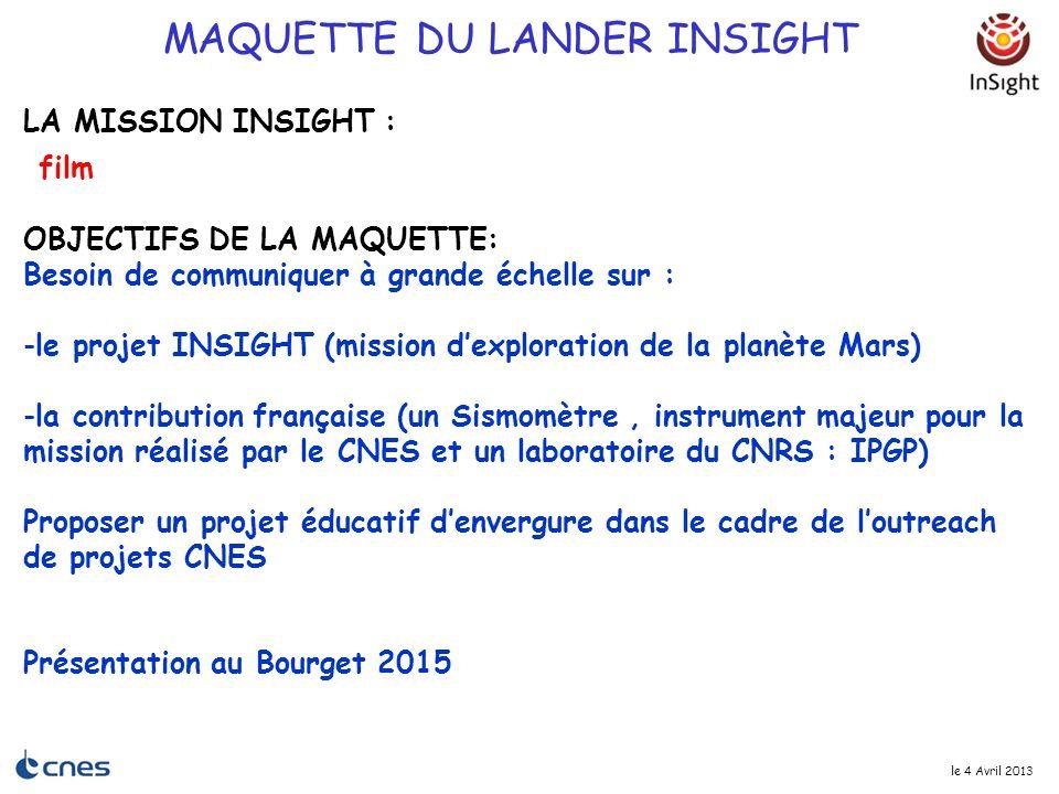 le 4 Avril 2013 MAQUETTE DU LANDER INSIGHT OBJECTIFS DE LA MAQUETTE: Besoin de communiquer à grande échelle sur : -le projet INSIGHT (mission d'explor