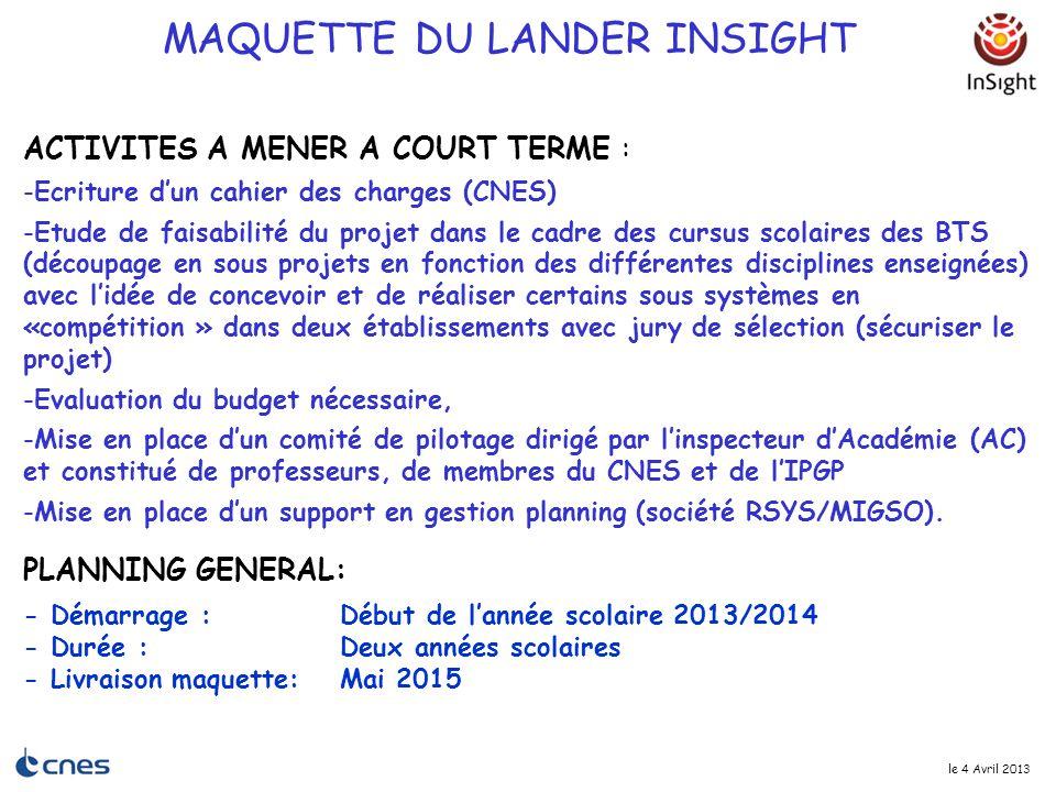 le 4 Avril 2013 ACTIVITES A MENER A COURT TERME : -Ecriture d'un cahier des charges (CNES) -Etude de faisabilité du projet dans le cadre des cursus sc