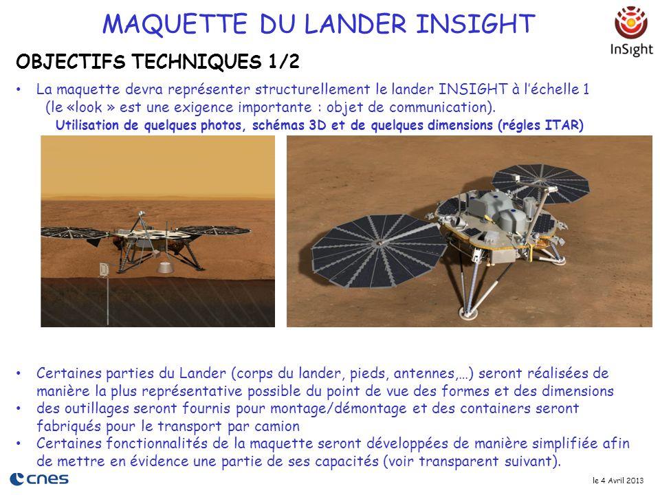 le 4 Avril 2013 La maquette devra représenter structurellement le lander INSIGHT à l'échelle 1 (le «look » est une exigence importante : objet de comm