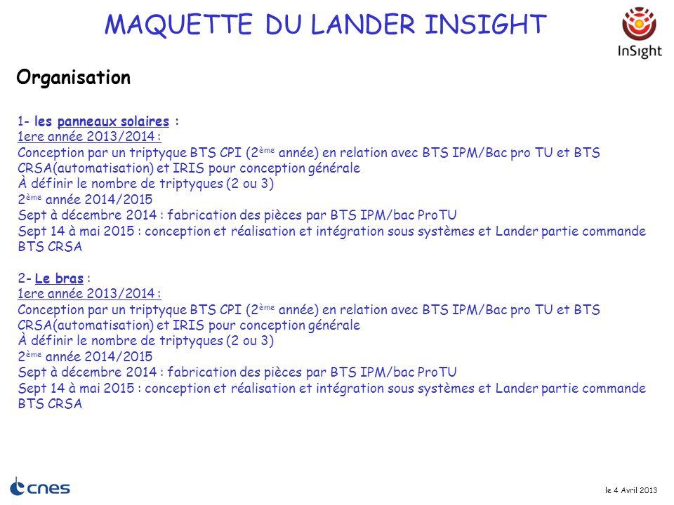 le 4 Avril 2013 1- les panneaux solaires : 1ere année 2013/2014 : Conception par un triptyque BTS CPI (2 ème année) en relation avec BTS IPM/Bac pro T