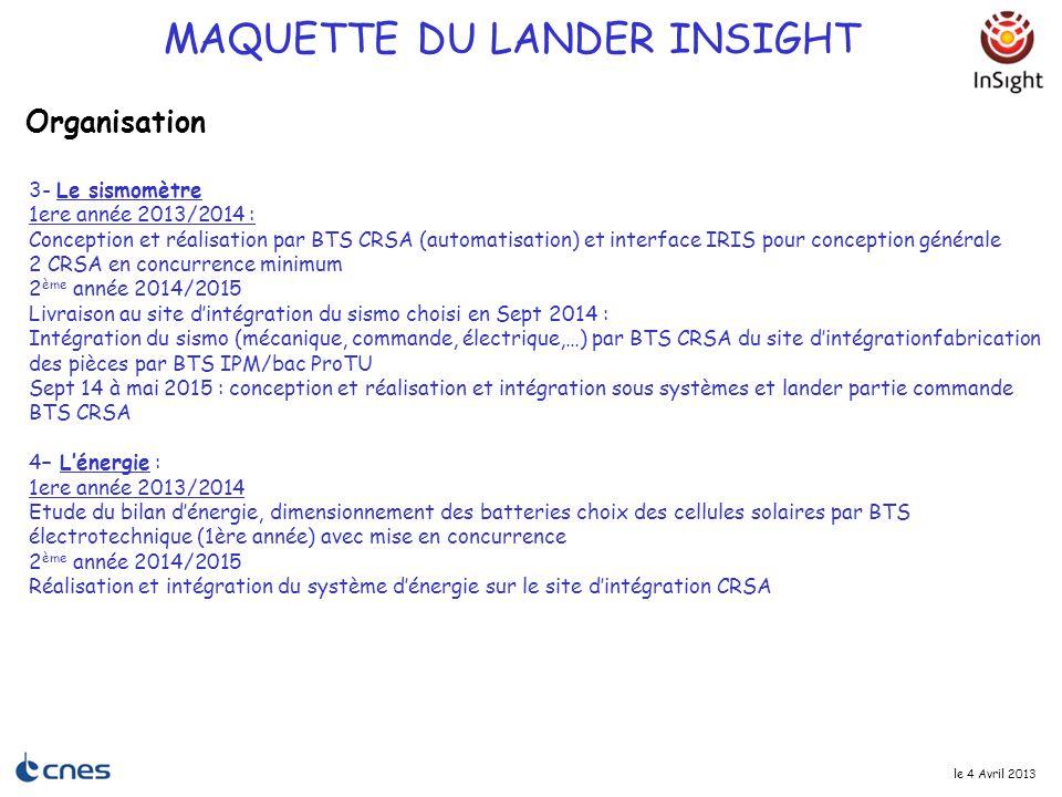 le 4 Avril 2013 3- Le sismomètre 1ere année 2013/2014 : Conception et réalisation par BTS CRSA (automatisation) et interface IRIS pour conception géné