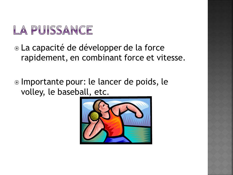  La capacité de développer de la force rapidement, en combinant force et vitesse.
