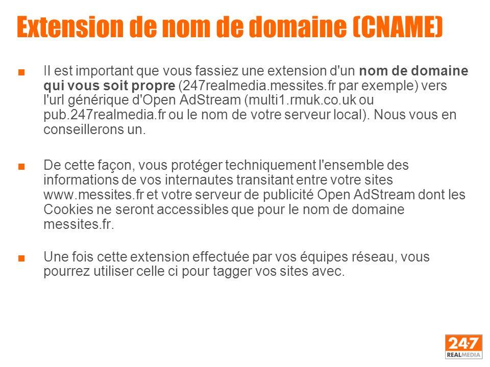 Extension de nom de domaine (CNAME) ■Il est important que vous fassiez une extension d'un nom de domaine qui vous soit propre (247realmedia.messites.f