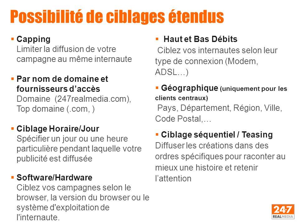 Possibilité de ciblages étendus  Capping Limiter la diffusion de votre campagne au même internaute  Par nom de domaine et fournisseurs d'accès Domai
