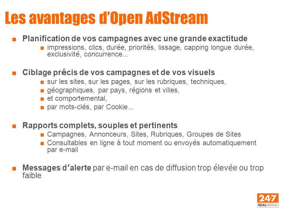 Les avantages d'Open AdStream ■Planification de vos campagnes avec une grande exactitude ■impressions, clics, dur é e, priorit é s, lissage, capping l