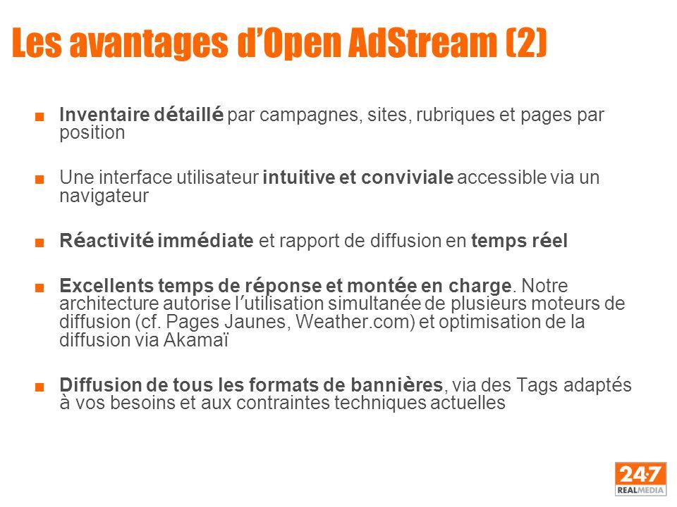 Les avantages d'Open AdStream (2) ■Inventaire d é taill é par campagnes, sites, rubriques et pages par position ■Une interface utilisateur intuitive e