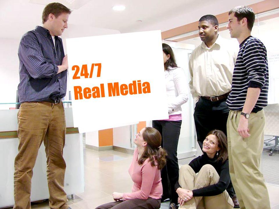 24/7 Real Media en bref ■Pionnier du marketing et des technologies interactives ■Fondé à New York en 1995 ■Présence en Europe depuis 1996 ■Leader des stratégies innovantes pour la publicité en ligne et le Marketing sur les Moteurs de Recherche ■Solutions et services basés sur les technologies les plus pointues du marché ■Côté au NASDAQ, code 'TFSM' ■Membre actif de l'IAB
