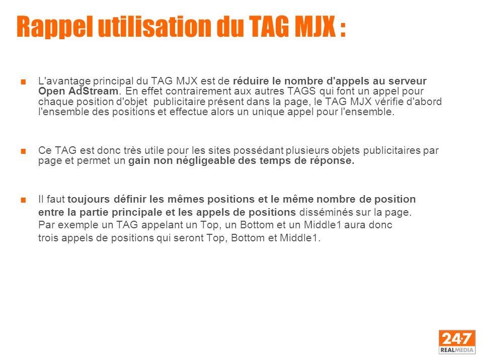 Rappel utilisation du TAG MJX : ■L'avantage principal du TAG MJX est de réduire le nombre d'appels au serveur Open AdStream. En effet contrairement au
