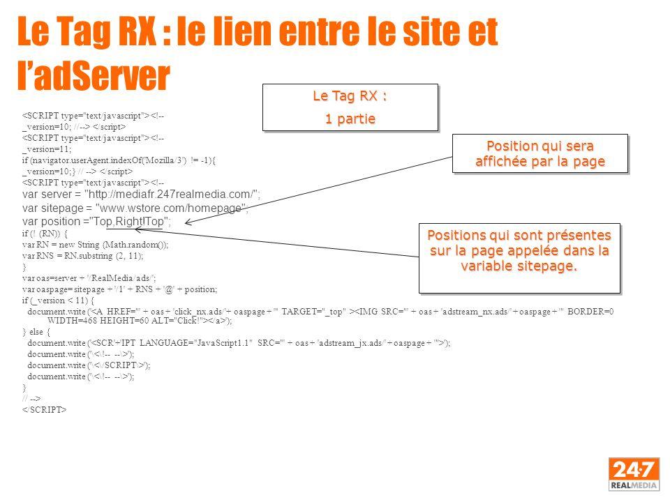 Le Tag RX : le lien entre le site et l'adServer <!-- _version=10; //--> <!-- _version=11; if (navigator.userAgent.indexOf('Mozilla/3') != -1){ _versio