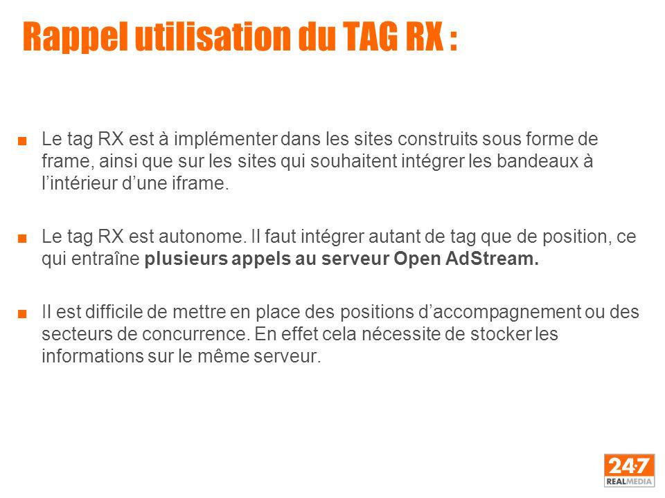 Rappel utilisation du TAG RX : ■Le tag RX est à implémenter dans les sites construits sous forme de frame, ainsi que sur les sites qui souhaitent inté