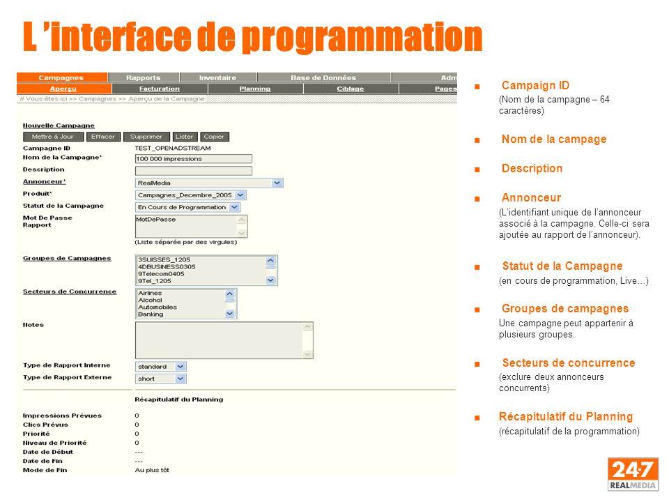 L 'interface de programmation ■ Campaign ID (Nom de la campagne – 64 caractères) ■ Nom de la campage ■ Description ■ Annonceur (L'identifiant unique d