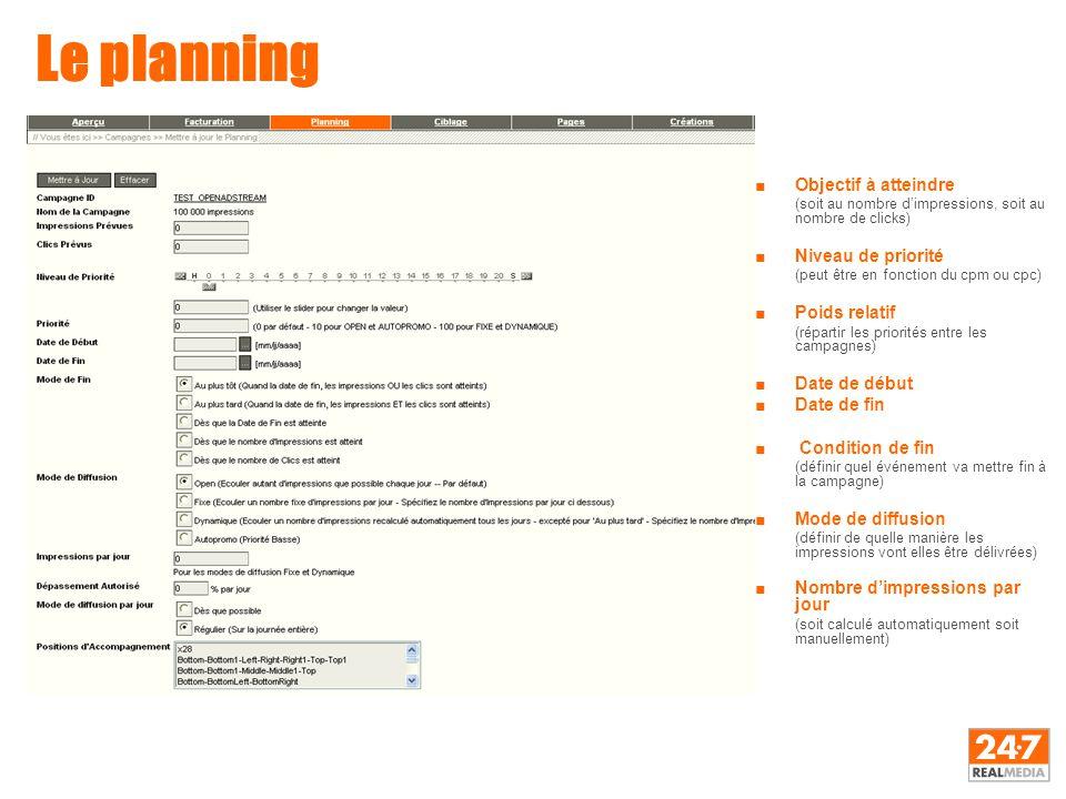 Le planning ■Objectif à atteindre (soit au nombre d'impressions, soit au nombre de clicks) ■Niveau de priorité (peut être en fonction du cpm ou cpc) ■