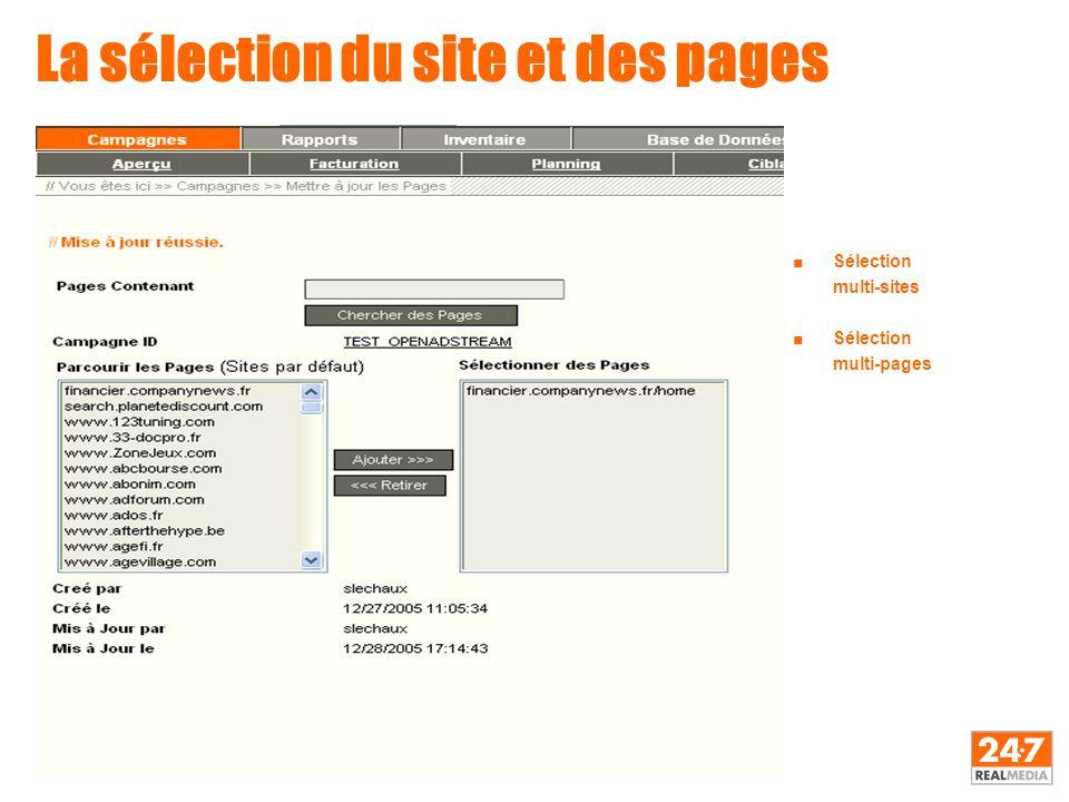 La sélection du site et des pages ■Sélection multi-sites ■Sélection multi-pages