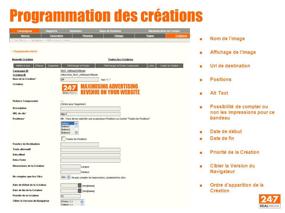 Programmation des créations ■Nom de l'image ■Affichage de l'image ■Url de destination ■Positions ■Alt Text ■Possibilité de compter ou non les impressi