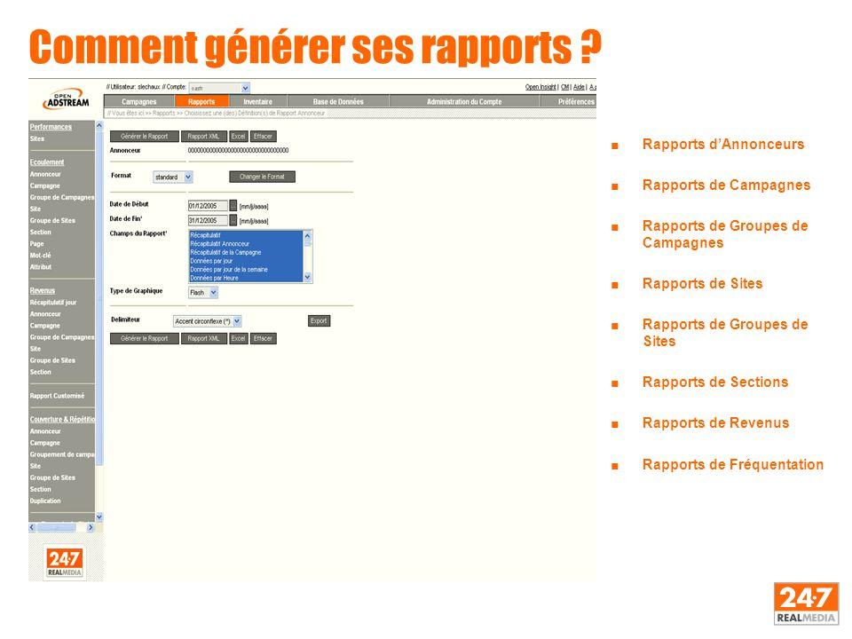 Comment générer ses rapports ? ■Rapports d'Annonceurs ■Rapports de Campagnes ■Rapports de Groupes de Campagnes ■Rapports de Sites ■Rapports de Groupes